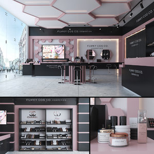 cosmetics shop designed 3D model