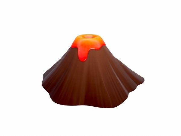 3D volcano cartoon