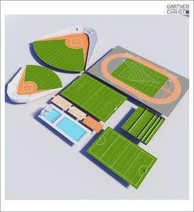 3dsmax 10 sports fields arenas