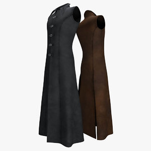 coat sleeveless leather 3D