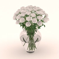 3D glass vase white roses
