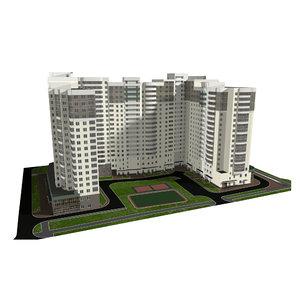 residential multi-storey building 3D model
