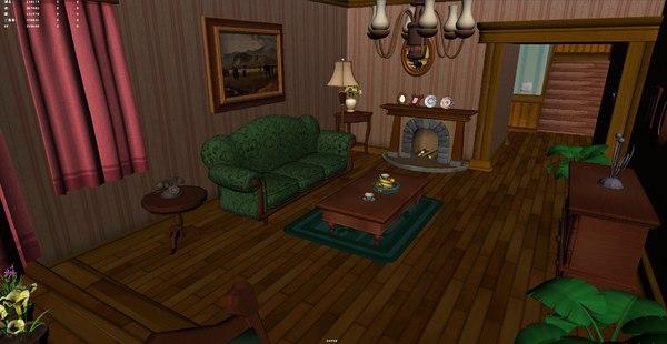 3D cartoon living room