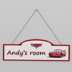 3D children room sign