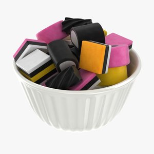 3D realistic licorice allsorts bowl
