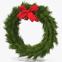 3D christmas wreath red bow model