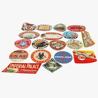 vintage luggage stickers 3D model