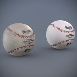 3D baseball clean dirty