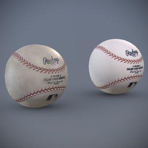 3D baseball clean dirty