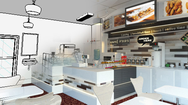3D small cafe model