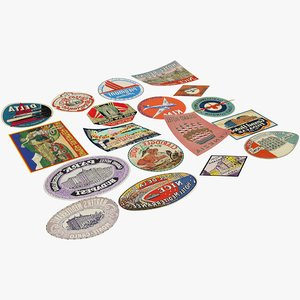 3D vintage luggage stickers