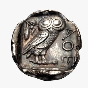 ancient greek tetradrachm athens model