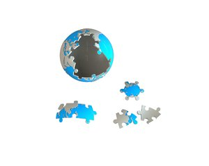 3D earth sphere puzzle model