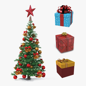 3D christmas tree giftboxes gifts