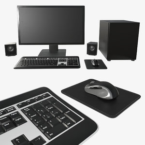3D monitor keyboard computer