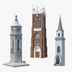3D model towers ancient brick