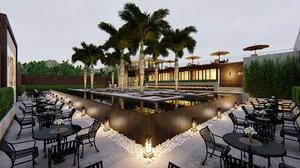 restaurant pond lumion 3D