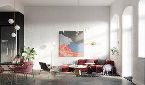 3D bedroom bed indoors