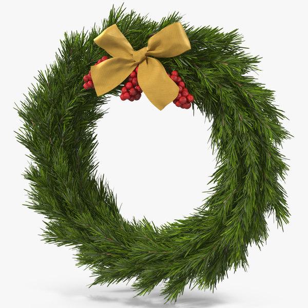 3D christmas wreath gold bow