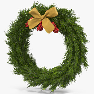 3D christmas wreath gold bow