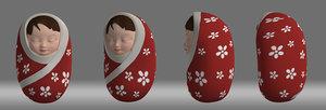 3D cartoon baby model