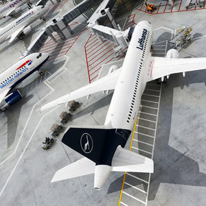 3D realistic airport terminal vehicles model