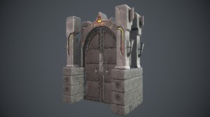 3D boss door videogame asset