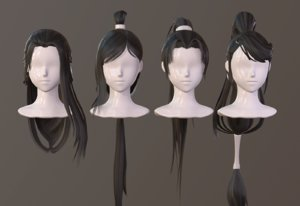 3D girl hair