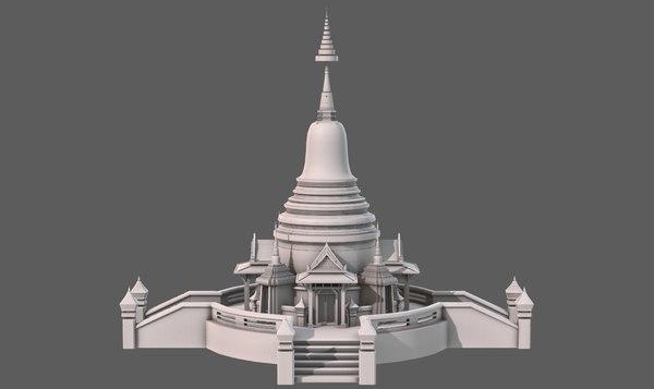 3D temple pagoda v04 model