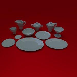 3D set crockery model