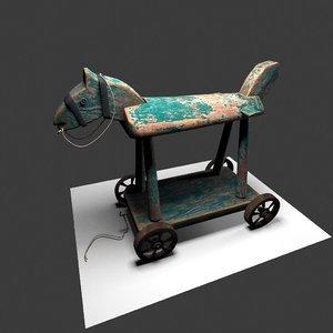 wheeled toy horse model