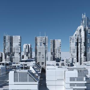 3D futuristic sci-fi buildings
