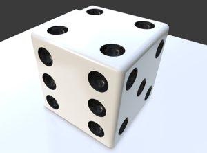 white dice sides 3D model