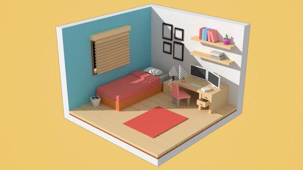 3D cartoon bedroom pack model
