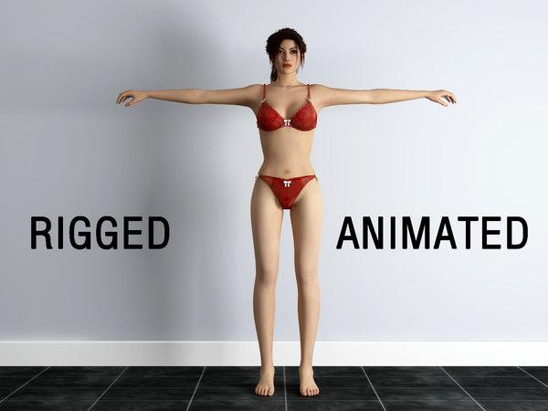 rigged bikini girl 3D model