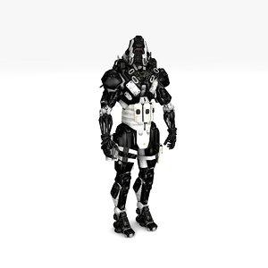 assassin robot rigged 3D model