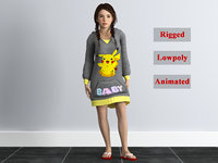 rigged girl 3D