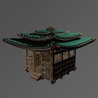 wood japanese arbor 3D model