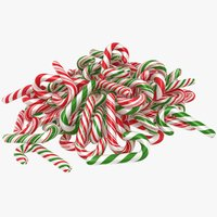 christmas candy cane pile 3D