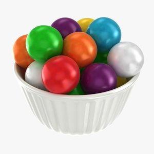 3D model realistic bubble gum bowl