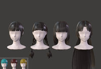 The girl hair Restoring ancient ways ponytail Long hair Low-poly