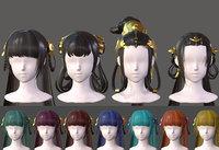 The girl hair Restoring ancient ways ponytail Long hair braid Low-poly