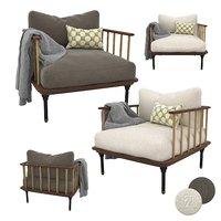 armchair blanket chair 3D model