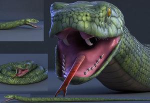 snake reptile animal 3D model