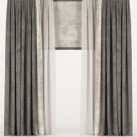 curtains velvet tulle 3D model