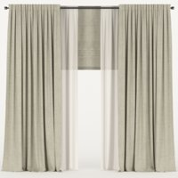 3D model curtains beige tulle