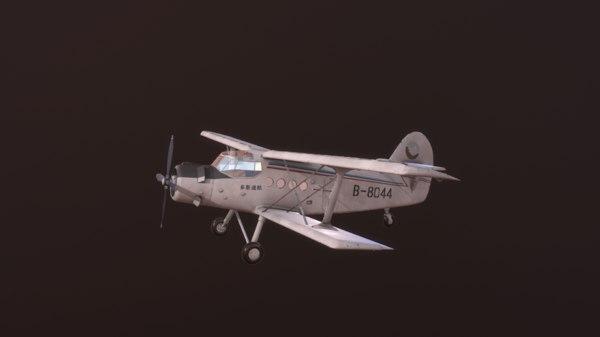 airplane aircraft biplane 3D model
