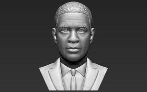 3D denzel washington bust ready
