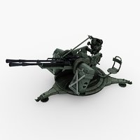 3D anti aircraft gun zpu model