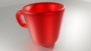 3D red coffee cup